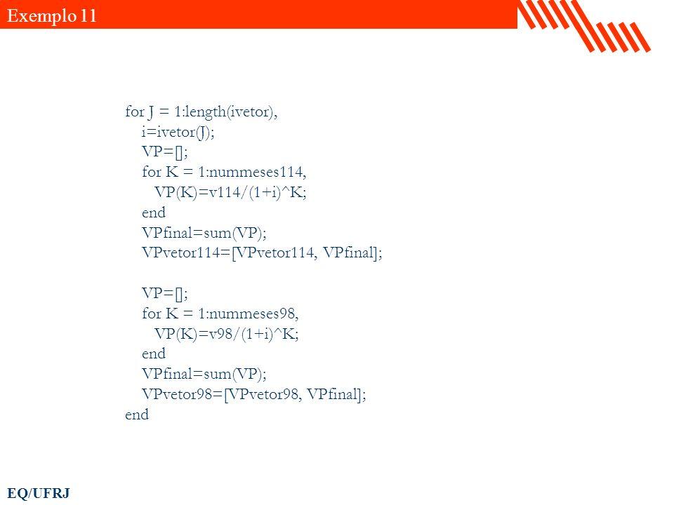 Exemplo 11 for J = 1:length(ivetor), i=ivetor(J); VP=[];